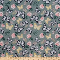 Up Up And Away Butterfly Metallic Slate Fabric