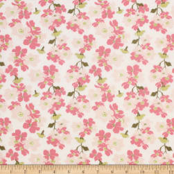 Up Up And Away Branch Metallic Pink Fabric