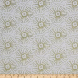 Up Up And Away Blossom Metallic White Fabric
