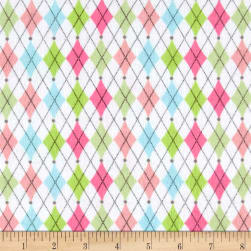 Printed Flannel Argyle Pastel Fabric