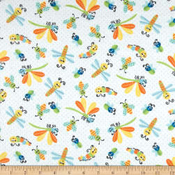 Printed Flannel Bugs White Fabric