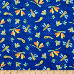 Printed Flannel Bugs Dark Blue Fabric