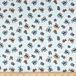 Flannel Butterfly Blue Fabric