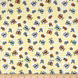 Flannel Butterfly Yellow Fabric