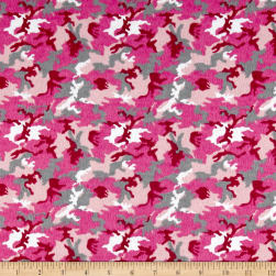 Printed Flannel Camo Pink Fabric