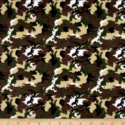 Printed Flannel Camo Brown Fabric