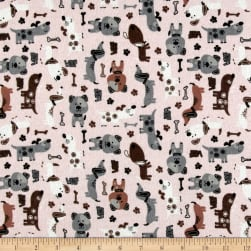Flannel Dogs Pink Fabric