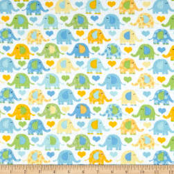Elephants Flannel Blue Fabric