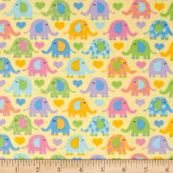 Elephants Flannel Yellow Fabric