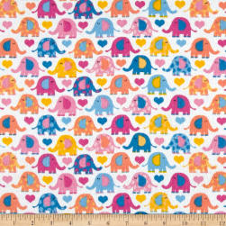 Elephants Flannel Bright Pink