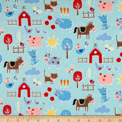 Flannel Farm Blue Fabric