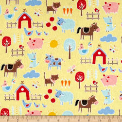 Flannel Farm Yellow Fabric