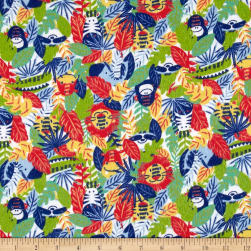 Printed Flannel Jungle Animals Red Fabric