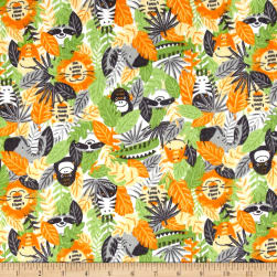 Printed Flannel Jungle Animals Orange Fabric