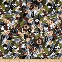 Printed Flannel Jungle Animals Brown Fabric