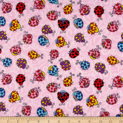 Printed Flannel Lady Bugs Pink Fabric