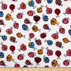 Printed Flannel Lady Bugs White Fabric