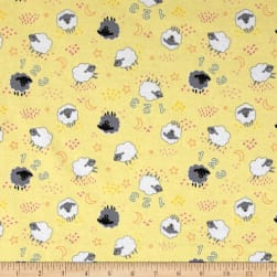 Sheep Flannel Yellow Fabric