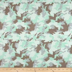 Printed Flannel Urban Camoflage Aqua Fabric
