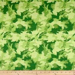 Printed Flannel Urban Camoflage Green Fabric