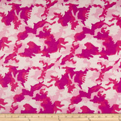 Printed Flannel Urban Camoflage Pink Fabric