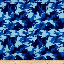 Printed Flannel Urban Camoflage Blue Fabric