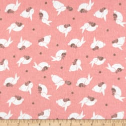 Printed Flannel Bunny Cuddle Pink Fabric