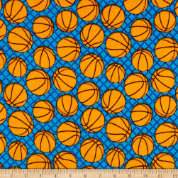 Flannel Basketballs Blue Fabric