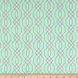Flannel Fretwork Grey on White Fabric