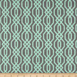 Flannel Fretwork Mint on Grey Fabric