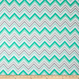 Chevron & On Flannel Mint/White Fabric
