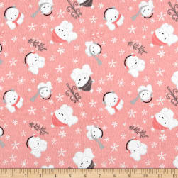 Printed Flannel Polar Cubs Pink Fabric