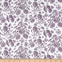 Flannel Toile Purple Fabric