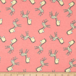 Tiny Giraffe Flannel Pink Fabric