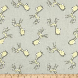 Flannel Tiny Giraffe Grey Fabric