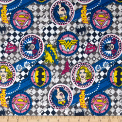 Girl Power ll Badges Flannel Grey Fabric