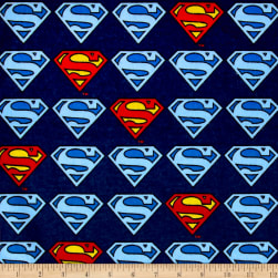 Superman Shield Flannel Navy Fabric