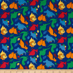 Dinomite Flannel Blue Fabric
