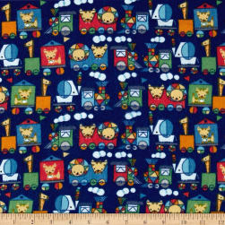 Jungle ChooChoo Flannel Dark Blue Fabric