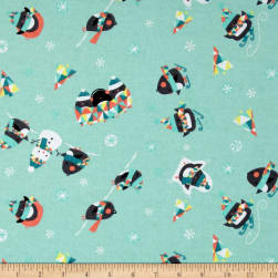Penguins Flannel Light Blue Fabric