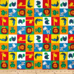 Jungle Squares Flannel Bright Multi Fabric