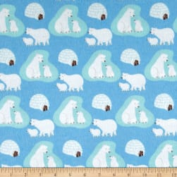 Polar Bears Flannel Blue Fabric