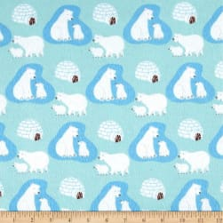 Polar Bears Flannel Light Blue Fabric