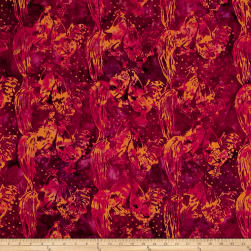 Island Batik Empress Garden Rooster Mixed Berry Fabric