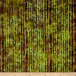 Island Batik Autumn's Grace Branches Grasshopper Fabric