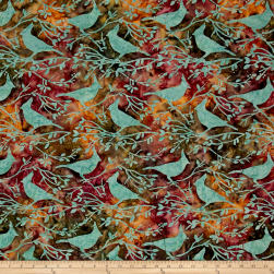 Island Batik Autumn's Grace Crowned Bird Dusk Fabric