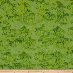 Island Batik Mountain's Majesty Critters Lime Fabric