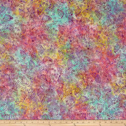 Island Batik Southern Blooms Butterflies Cotton Candy Fabric