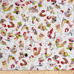 Loralie Designs Chicken Chique Coopers White Fabric