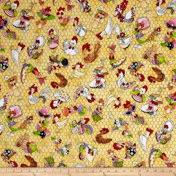 Loralie Designs Chicken Chique Coopers Yellow Fabric